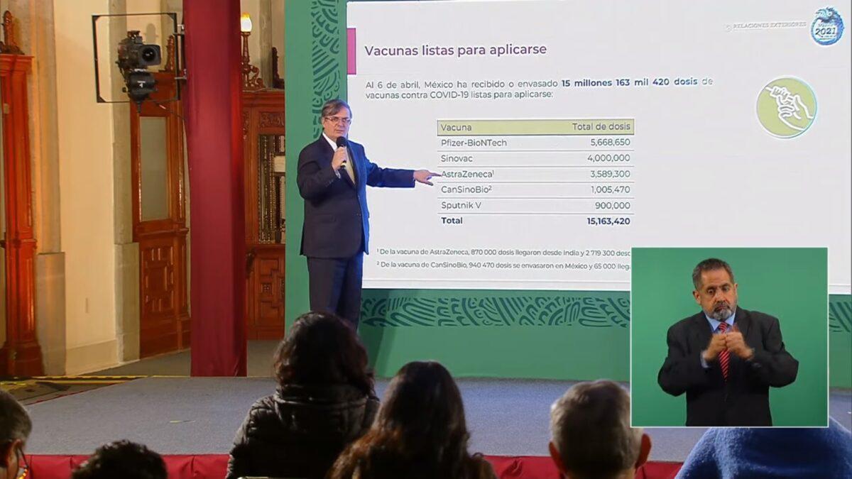 Marcelo Ebrard, canciller de México, explicando el número de vacunas que nuestro país ha recibido hasta el día de hoy.
