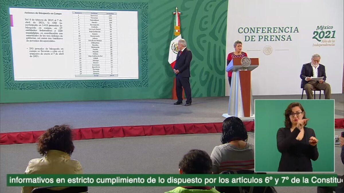 Karla Quintana, titular de la Comisión Nacional de Búsqueda de Personas (CNBP), en su participación en la conferencia matutina del día de hoy.