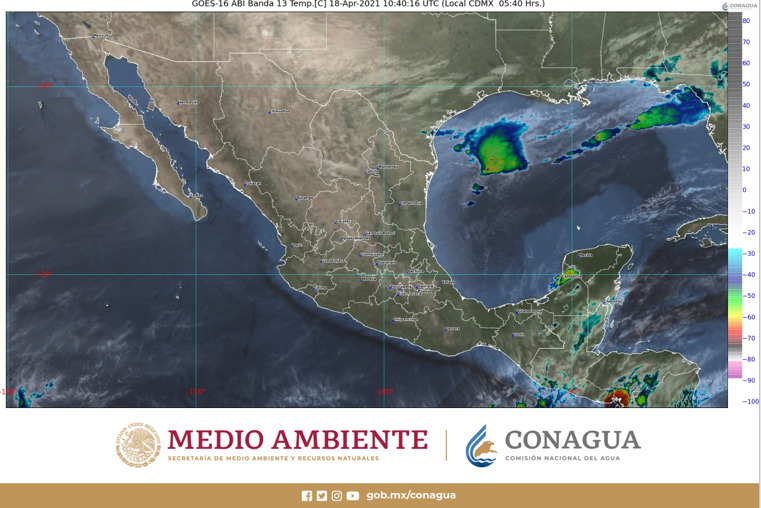 Quintana Roo: Pronóstico del clima para hoy domingo 18 de abril; lluvias puntuales muy fuertes sobre la Península de Yucatán.