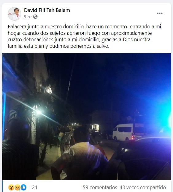 Tulum: Balean casa junto a la vivienda de candidato a regidor por Morena; Filia Tah estaba llegando cuando sucedió el ataque.