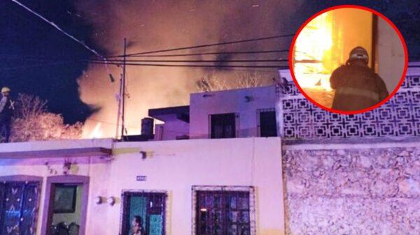 Fuerte incendio en una carpintería del Centro de Mérida pudo ser sofocado