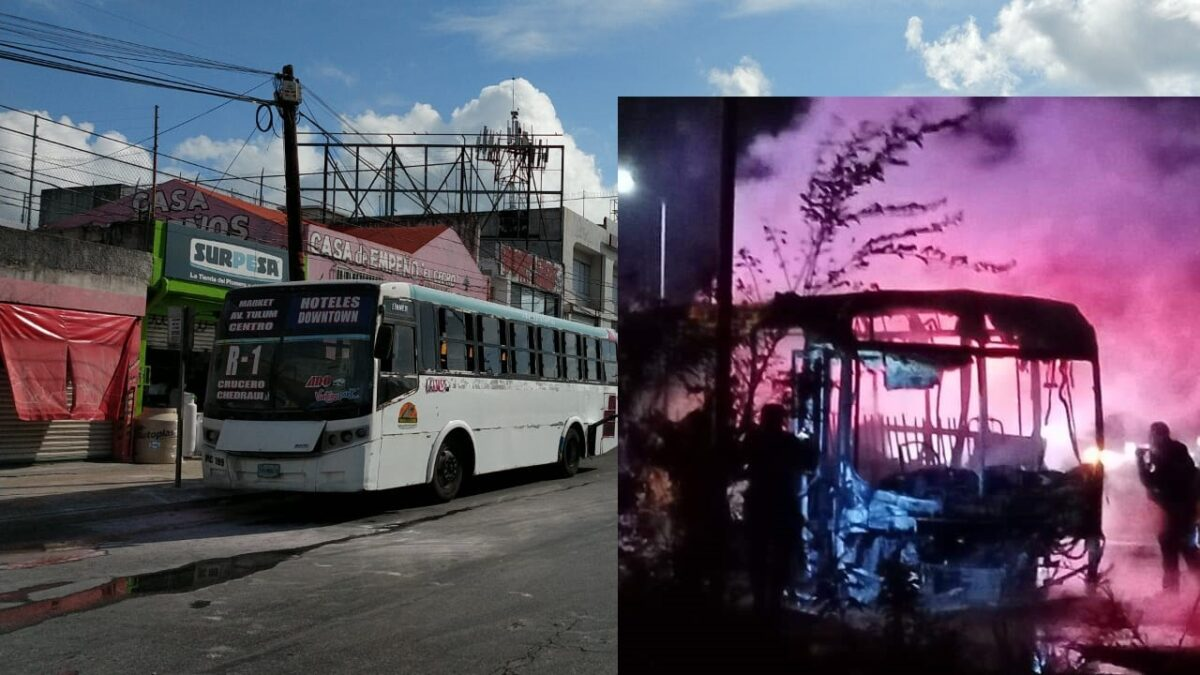 Sendos incendios de autobuses en Cancún; sospechan de ataques