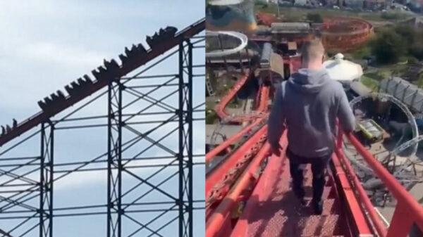 Jóvenes bajan a pie tras quedar atrapados en una montaña rusa