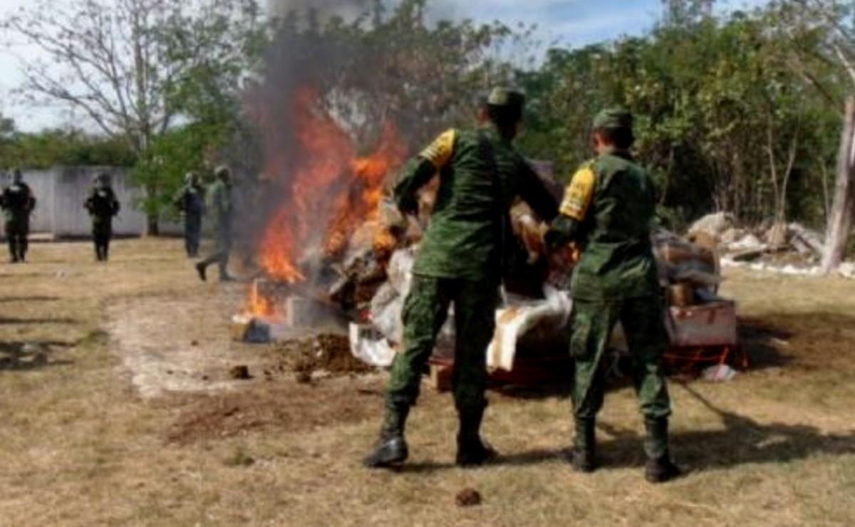 Militares destruyen más de mil kilos de narcóticos en Mérida