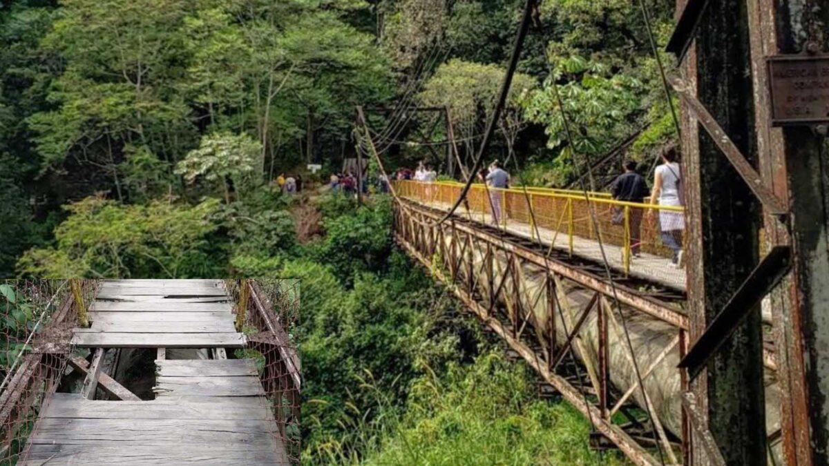 Cae de puente colgante en Veracruz y muere