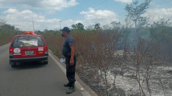 Conato de incendio en la carretera federal Cancún-Mérida.