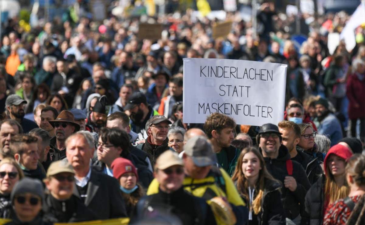 Protestan en Alemania contra medidas sanitarias