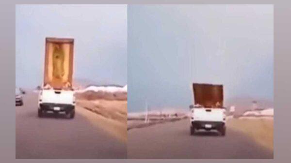 El video de una mujer que enfurece luego de que un cuadro de la Virgen de Guadalupe, cae de una camioneta, se viraliza en redes sociales