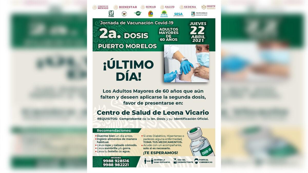Anuncian aplicación de la segunda dosis de vacuna contra covid-19 a adultos mayores de Puerto Morelos