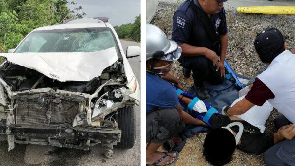 Aparatoso accidente en la carretera de Kantunilkín a San Ángel.