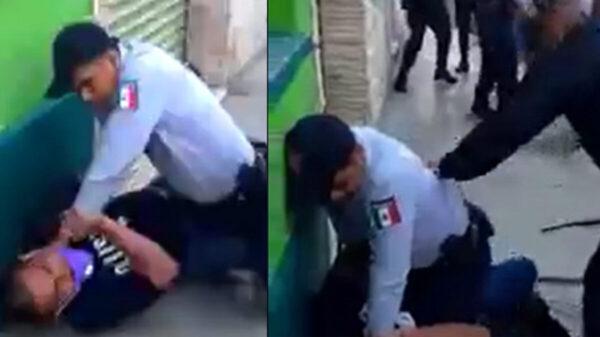 Policía golpea brutalmente con su tolete a detenido