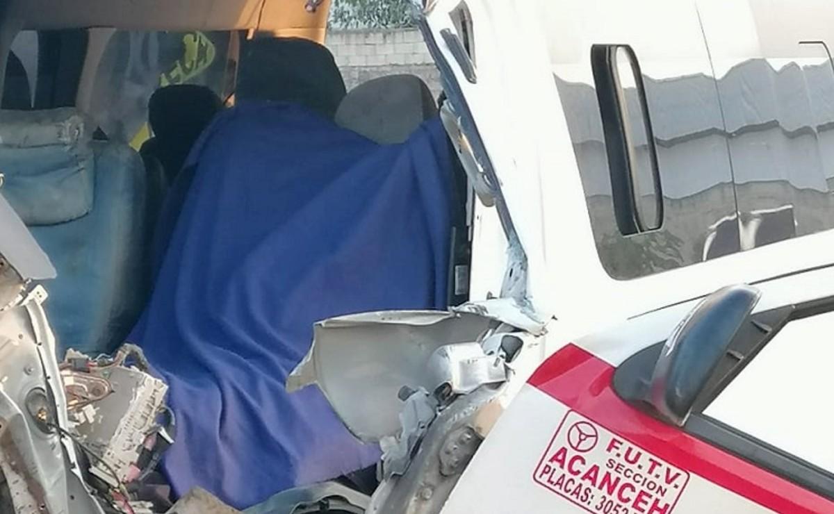 Muere chofer de transporte público al chocar contra un camión en la Mérida-Cancún