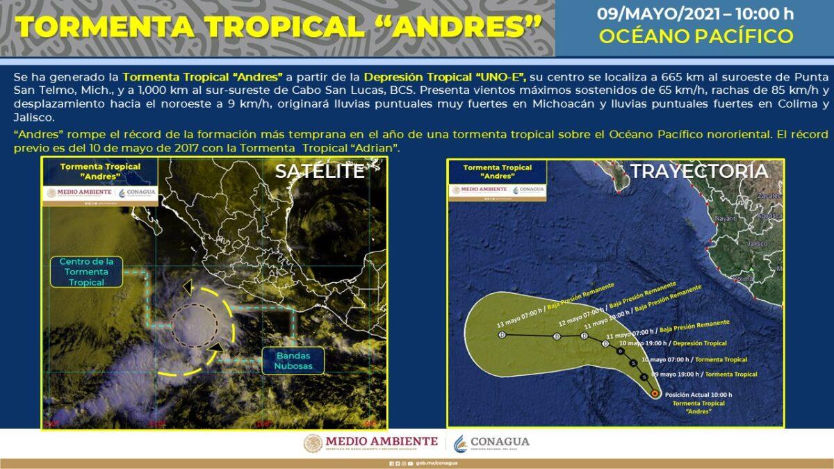 Nace 'Andrés', primera tormenta tropical en el Pacífico.
