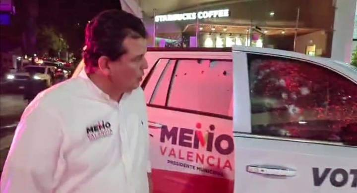 Balean camioneta de candidato del PRI a la alcaldía de Morelia (VIDEO); Guillermo Valencia resultó ileso, pero hay heridos de su gente.
