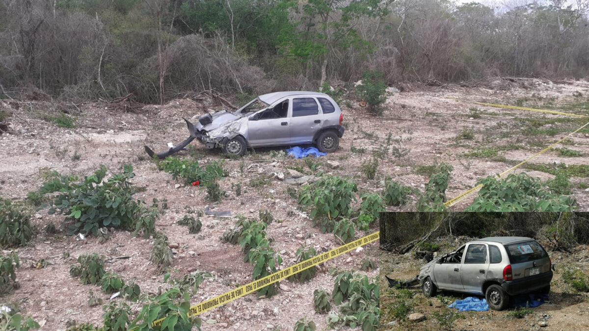 Sujeto muere aplastado al volcar su vehículo en Mérida-Tetiz