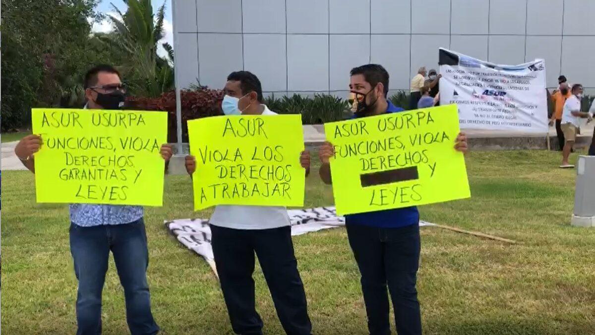 Cancún: Protestan transportistas del aeropuerto por 'cobro de piso' de Asur.