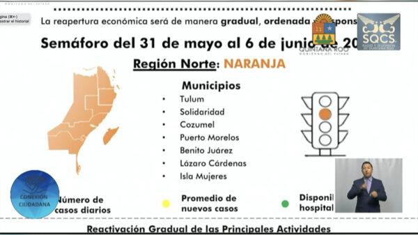 Prolonga Gobierno estatal semáforo naranja en Quintana Roo