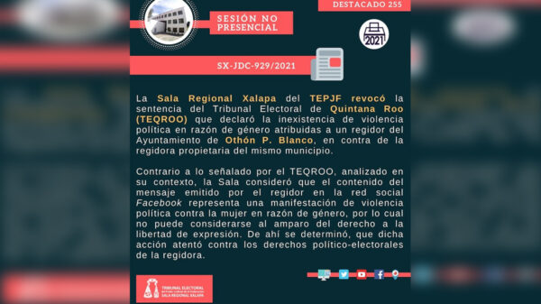 Dictamina el TEPJF violencia política en caso de regidores chetumaleños