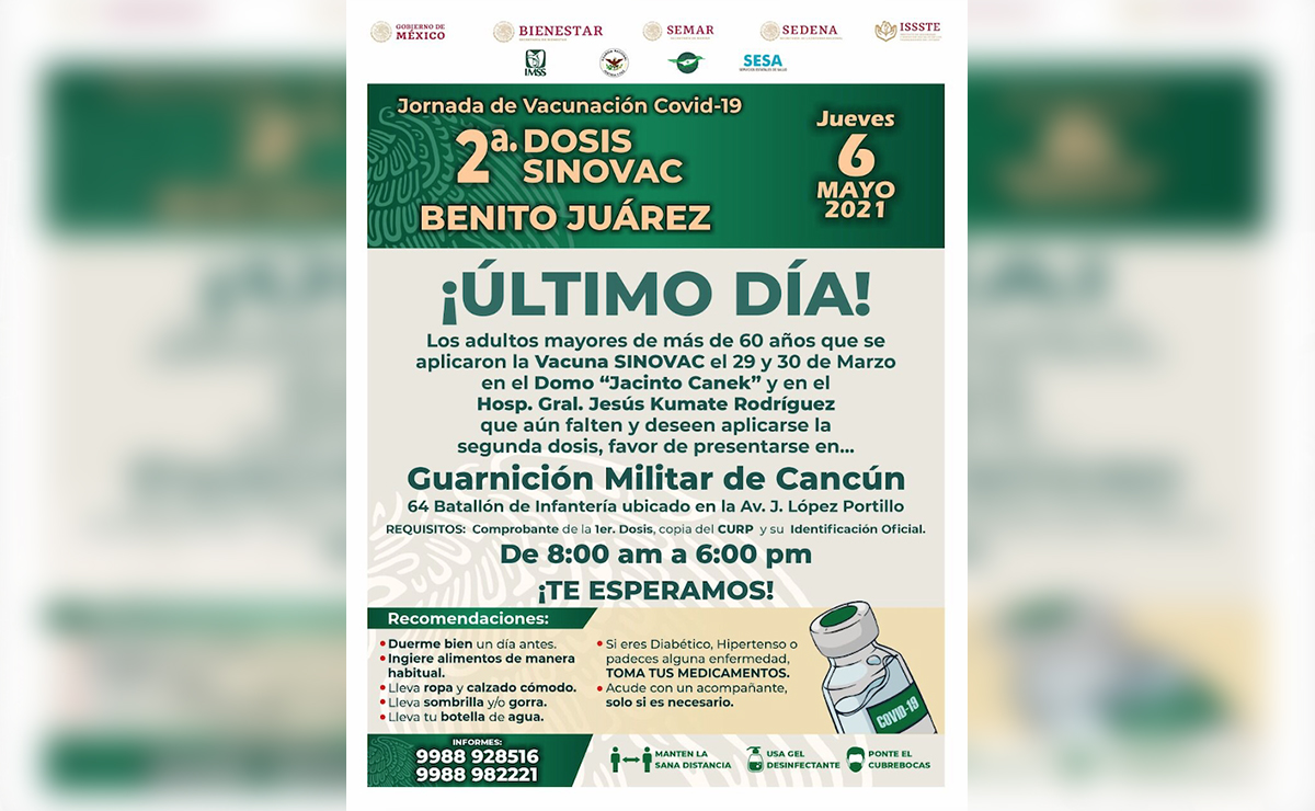 Alargan aplicación de segunda dosis de Sinovac en Cancún