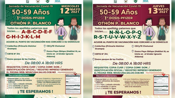 Inicia mañana aplicación de vacunas covid-19 a quincuagenarios en Chetumal
