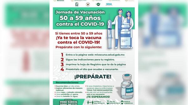 Quincuagenarios en Cancún sin fecha vacunación contra covid-19