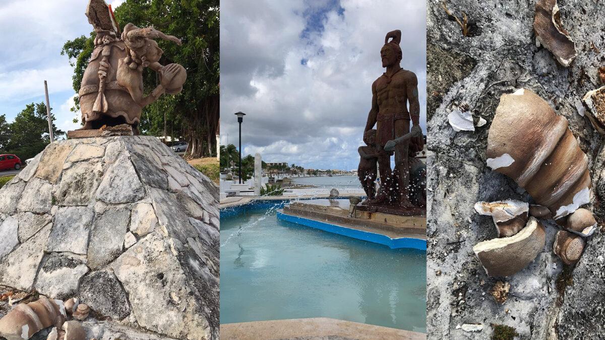 Vandalizan estatua de la diosa Ixchel en el parque de las dos culturas