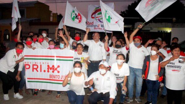 Jóvenes votarán por Jorge Rodríguez del PRI por un gobierno con rumbo para Benito Juárez.