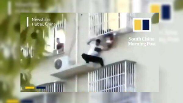 Los héroes no siempre usan capa y tiene superpoderes, es el caso de un hombre que arriesgó su vida para salvar a una niña que colgaba de un sexto piso