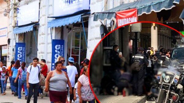 Hombre se lesiona con arma blanca en el Centro de Mérida; más de 10 policías lo controlan