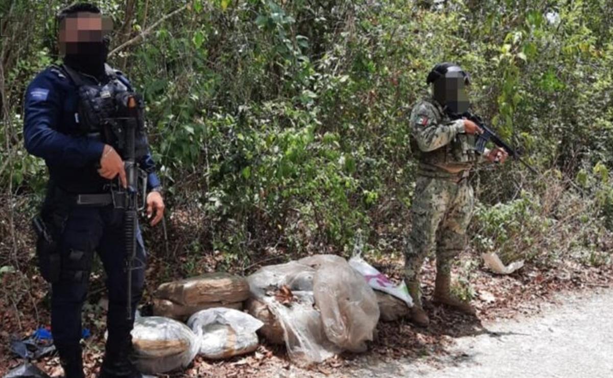Encuentran costales de mariguana cerca de ciudad militar Cancún