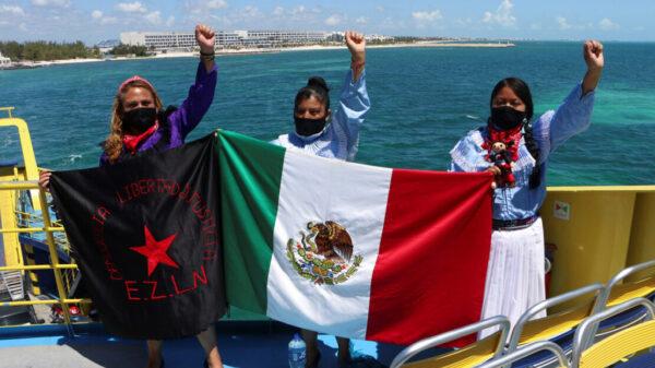 Zarpa de Isla Mujeres delegación zapatista que va a 'conquistar' Europa.