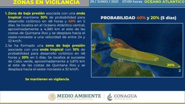 Clima: Vigilan dos zonas de baja presión con trayectoria al Caribe.