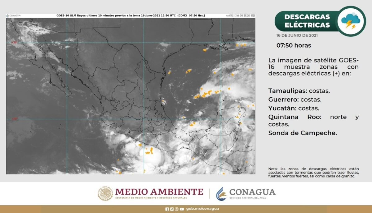 #Clima: Continuarán las lluvias intensas en Quintana Roo; zona de baja presión permanece sobre la Península de Yucatán.