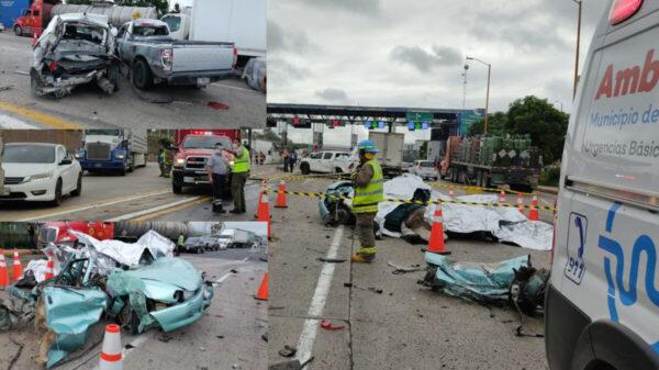 Tráiler embiste a siete vehículos y mueren prensados cuatro personas