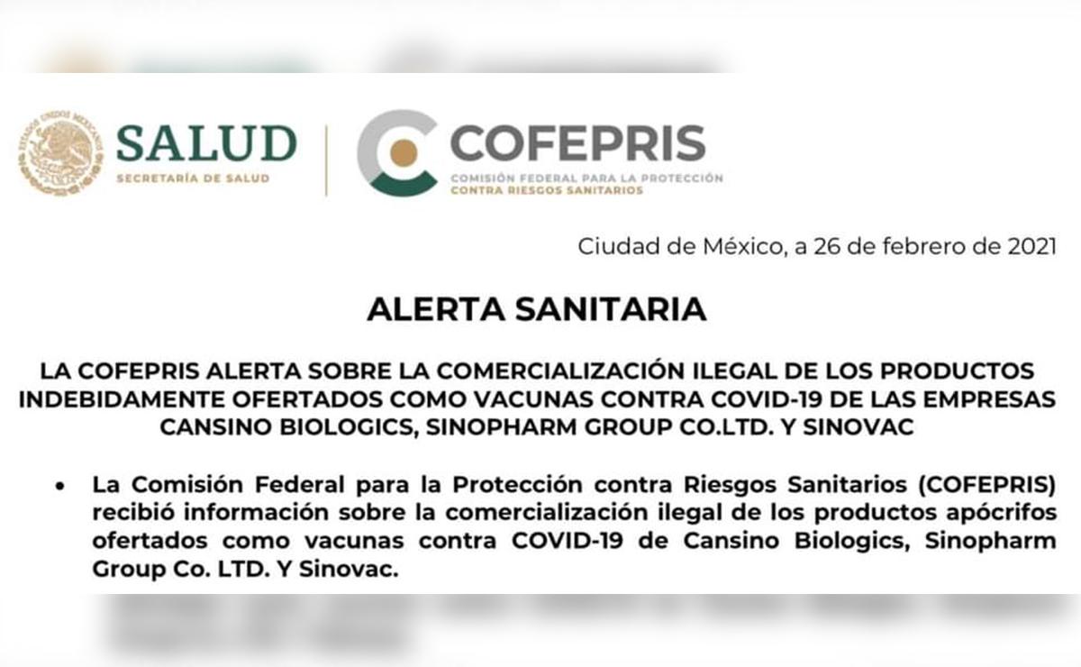 Cofepris alerta sobre venta de falsas vacunas covid-19