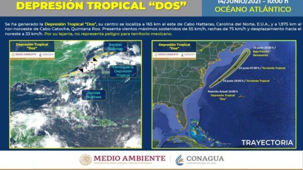 Clima: Se forma la Depresión Tropical 2 en el Océano Atlántico.