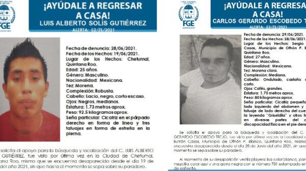 Reportan la desaparición de tres personas en Chetumal.