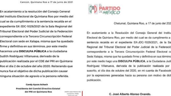 Fría 'disculpa' de dirigentes del PRI a la diputada Judith Rodríguez.
