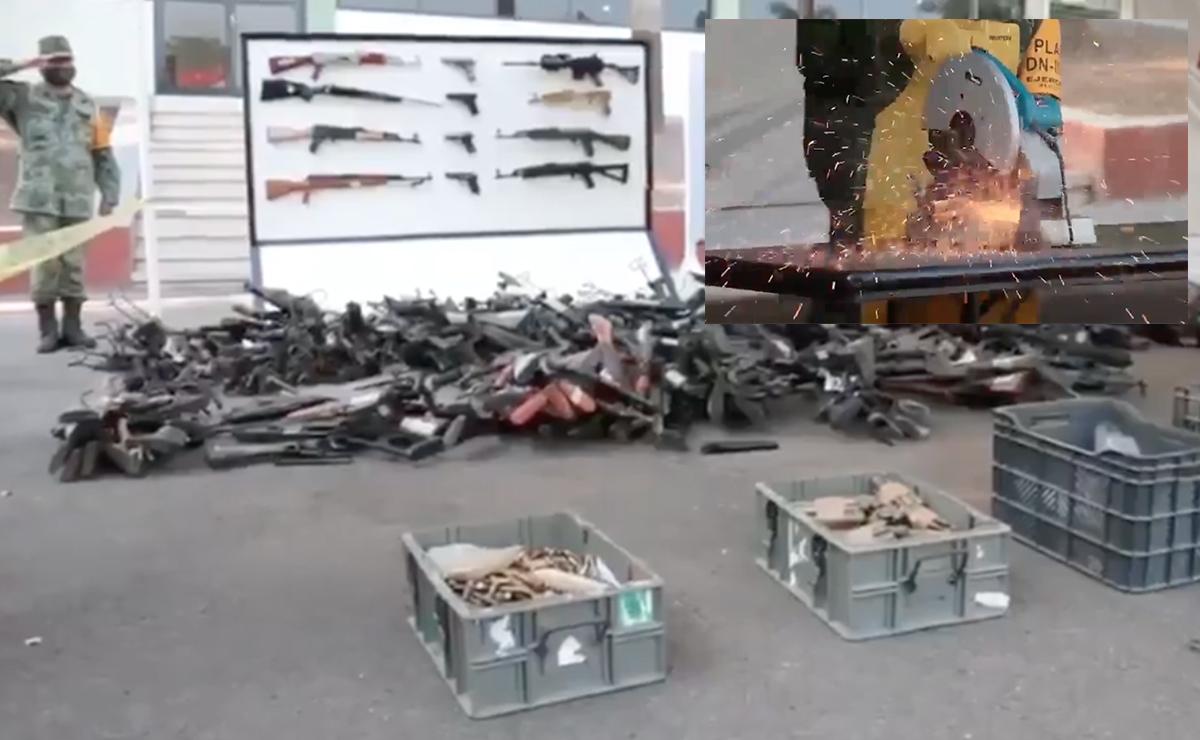 Video: Destruye SEDENA mas de 610 armas decomisadas