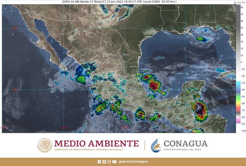 Pronóstico del clima para hoy domingo 13 de junio en Quintana Roo; se prevén lluvias fuertes en la entidad, después del mediodía.