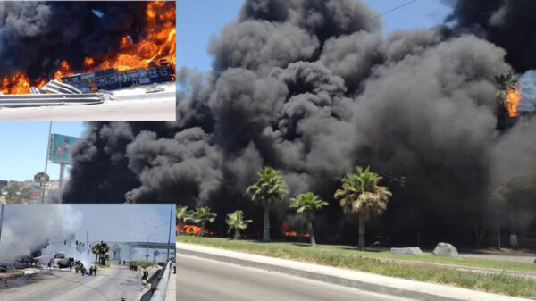 Vuelca pipa de combustible y provoca terrible explosión, en Tijuana