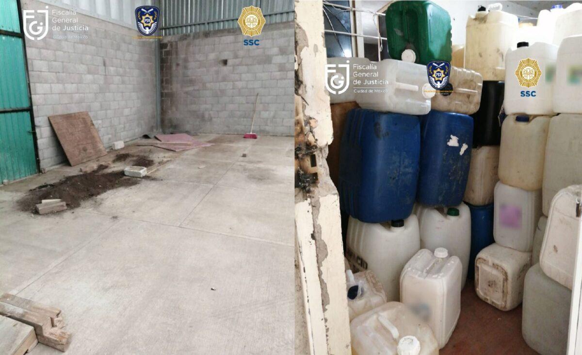 Bodega clandestina para almacenar huachicol en la alcaldía Azcapotzalco en CdMx.