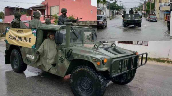 Ejército Mexicano realiza recorrido preventivo en Cancún por lluvias