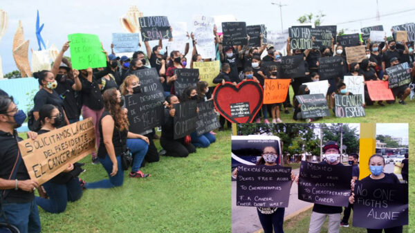 Manifestación en Cancún de pacientes con cáncer