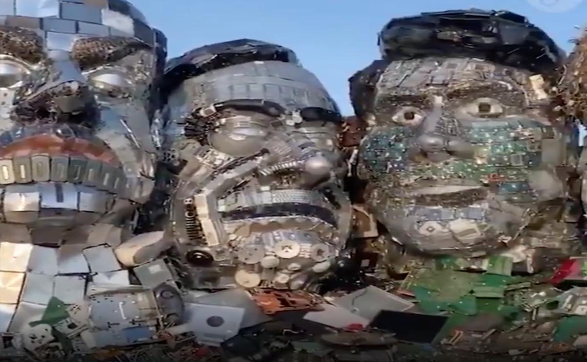 """Video: Crea artista el """"Monte Recyclemore"""" en cumbre G7"""