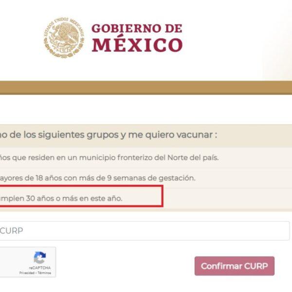 Si tienes de 30 a 39 años ya puedes registrarte para recibir la vacuna contra Covid-19.