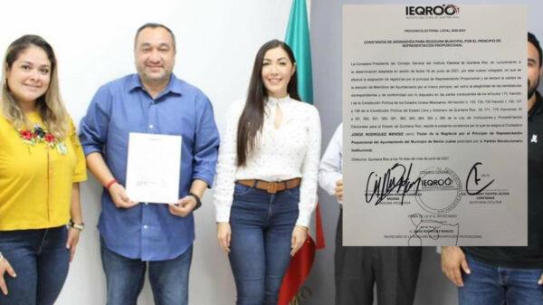 Recibe Jorge Rodriguez constancia de regidor de Cancún