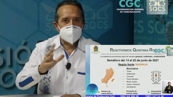 Pese a récord de 274 contagios de covid-19, Quintana Roo seguirá en naranja