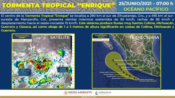 Se forma en el Pacífico la tormenta tropical 'Enrique'.