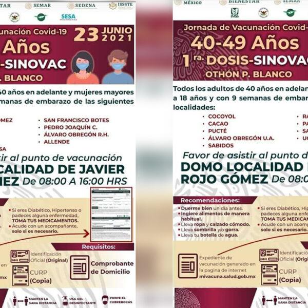 Anuncia gobierno vacunación covid para cuadragenarios en Othón P. Blanco, iniciará este miércoles 23 de junio y continuará un día mas el jueves 24